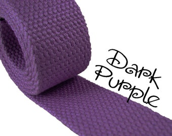 """Cotton Webbing - Dark Purple - 1.25"""" Medium Heavy Weight for Key Fobs, Purse Straps, Belting - SEE COUPON"""