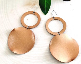 Vintage copper earrings- Large multi circular drop dangle sparkly copper tone earrings with fish hook