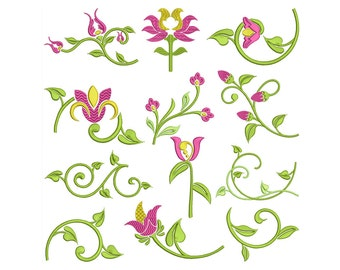 SATIN FLORAL - Machine Embroidery - Instant Digital Download