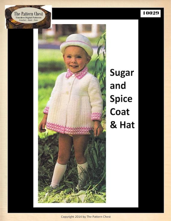 Ganchillo tunecino Vintage patrón niño niñas abrigo patrón sombrero ...