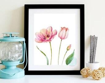 PRINTABLE ART Tulip Printable Spring Wall Art Spring Print Floral Printable Spring Flowers Tulip Print Tulip Wall Art Pink Flower Art
