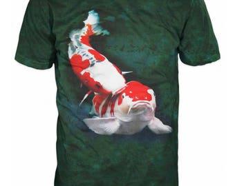 Cool Japanese Koi Fish Yin Yang Carp Fish 3D Fishing Sublimation Men T-Shirt