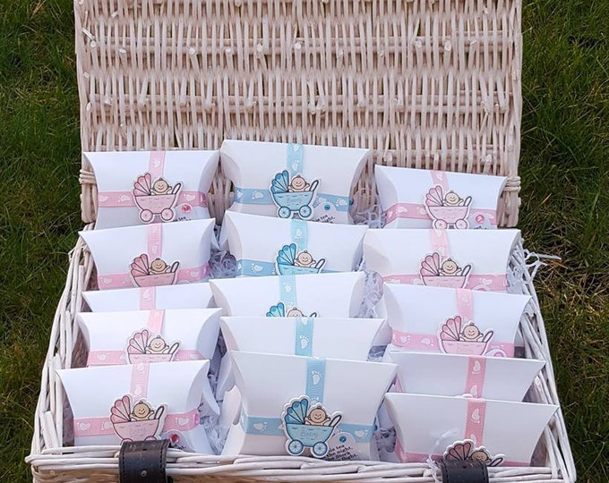 10 Baby shower gender reveal party pillow box favours  with embellishment scented tealight candle