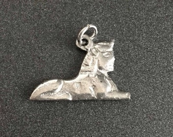Sterling Silver Sphinx Charm for Charm Bracelets, Vintage Sterling Silver Sphinx Charm, Egypt Jewelry, Egyptian Charm