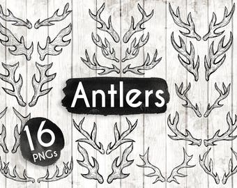 Boho Antler Clipart - Antlers PNG - Hand Drawn Antler Clipart - Vector Tribal Art - Boho clipart - Boho Illustration - 125