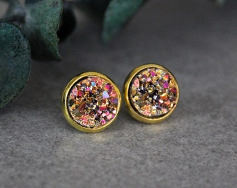 Gold Stud Earrings, Pink and Gold Earrings, Gold Earrings, Gold Druzy Earrings, Pink Stud Earring, Pink Druzy Earring, Gold and Pink Earring