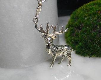 TOM K Deer Charm pendant Silver Necklace