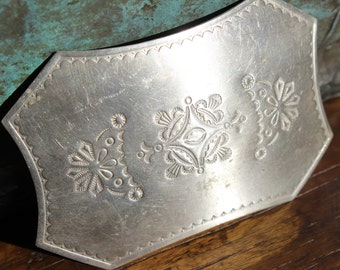 Vintage Nickel Silver Stamped  Belt Buckle