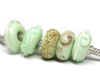 Mint green bracelet beads Lampwork glass large hole European style beads Light Green charm beads Murano glass by MayaHoney SRA