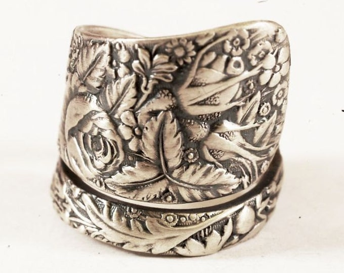 "Antique Spoon Ring Rose Garden Pattern ""1884 Arlington"" Sterling Silver by Towle, Handmade in your Size (6780)"