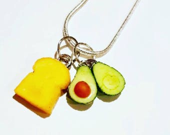 Avocado Necklace - Avocado Pendant - Avocado and Toast Necklace - Avocado vegan pendant - polymer clay avocados - Avocado breakfast necklace