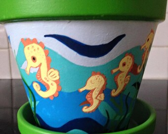 Seahorse Planter, Hand Painted Planter, Seahorse Nursery, Indoor Plant Pot, Seaside Decor, Terracotta Planter, Seahorse Gifts, Seahorse