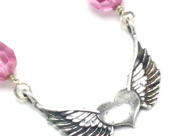 Silver and Swarovski Crystal Winged Heart Necklace