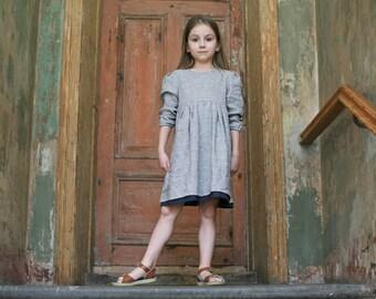 Girls Clothing Girls Linen dress Gray linen dress Linen girls outfit Linen dress with lining Linen girls clothes