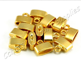 5 pcs Gold End Caps, (11mm x 12mm) Gold Flat End Caps, 24k Matte Gold Plated End Cap, Gold Leather Cord Ends, Metal Gold End Caps / GPY-330