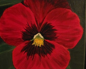 An original acrylic painting entitled Red Pansy