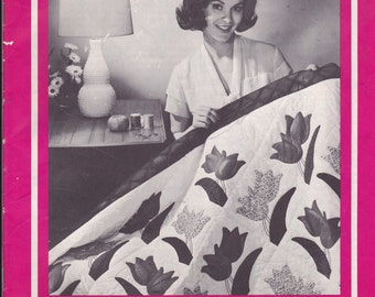 Vintage Quilt Pattern Book - APPLIQUE & PIECED QUILTS - Pinwheel, Butterlfy, Dutch Tulip, Windmill, Rosebud,Presidential plus much more
