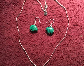 Malachite and Sterling Silver Bear Pendant and Earrings