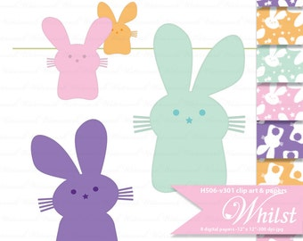 Easter digital paper bunny clip art candy scrapbooking bunny paper printable craft supplies : H506 v301