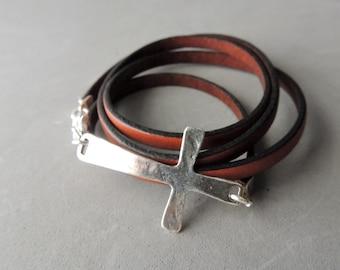 SALE Leather Wrap Bracelet, Boho Jewelry, Silver Cross Link, Artisan Jewelry, Southwestern Style, Casual Jewelry, Jewelry For Him or Her