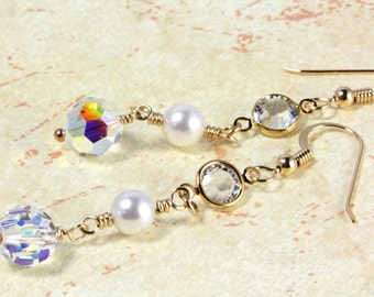 Swarovski Pearl and Crystal Long Dangle Earrings, Bridal Earrings