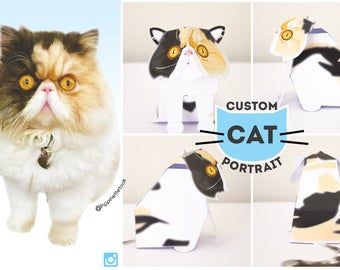Custom Cat portrait / Pet portrait / Cat Paper craft / Cat Lover Gift / Animal portrait / Portrait from photo - by Kooee Papercraft