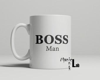 Boss Man Coffee Mug, boss mug, occupation gift, funny mug, work mug, gift for him, boss man, birthday gift, double sided image