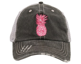 Pink Pineapple Embroidered Grey Distressed Mesh Back Hat
