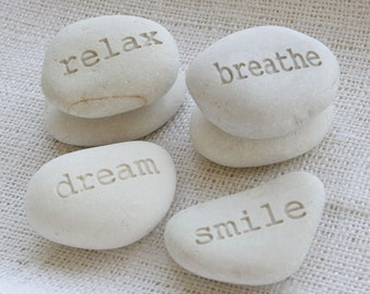 Custom Beach Pebbles - set of 2 personalized engraved beach stone