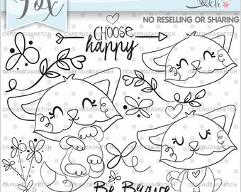 Fox Stamps, Animal Stamps, Fox Coloring Page, COMMERCIAL USE, Choose Happy, Be Brave, Woodland Stamps, Planner Stamps, Scrapbooking Fox