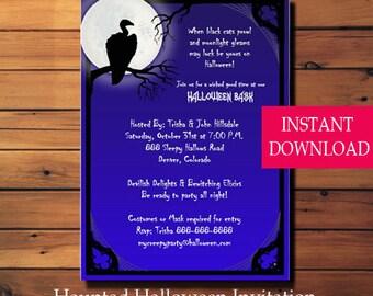 Halloween Party Invitation Vulture - Halloween Invitation - Halloween Party Invitation - Printable - Instant Download - Diy-Scary Halloween