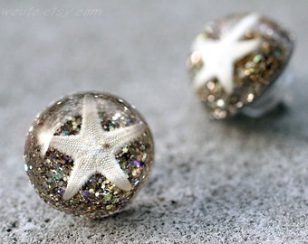 Beach Jewelry Starfish Earrings - Boho Beach Wedding Bridesmaid Jewelry - Starfish White Gold Glitter Sea shell Hypoallergenic Post Earrings
