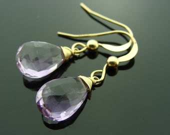 Amethyst Faceted Drop 14K Solid Yellow Gold Earrings