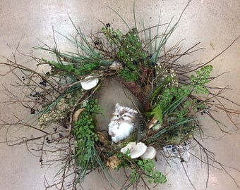 Owl and Toad Stool Wreath