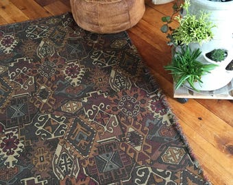 Vintage Woven Rug, Vintage Throw, Vintage Textile. This beautiful textile can be used either way.