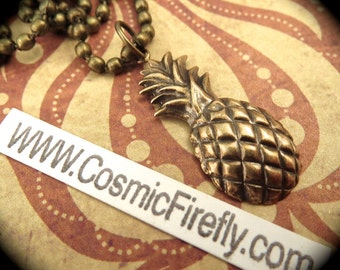 Antiqued Brass Pineapple Necklace Vintage Style Brass Metal Steampunk Necklace Tiki Necklace Pineapple Charm Includes Ball Chain