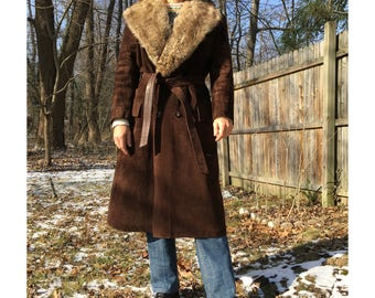 70s Ericson of Sweden Leather Coat with Fur Collar