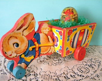 Vintage Fisher Price Easter Bunny Cart Number 401 Egg Cart with Wheels