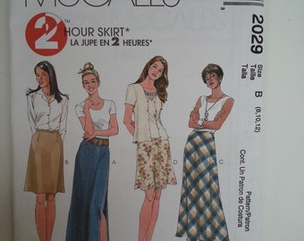 Maxi Skirt /90s/A Line/Easy/fast / short /bias skirt/1999 vintage sewing pattern, Size 8 10 12, Waist 24 25 26, Hip 33 34 36, McCalls M 2029