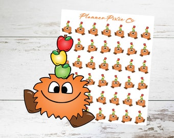 Monster Planner Stickers // Fall Autumn // Apples
