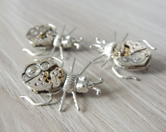Steampunk Beetle Brooch - silver beetle