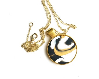 Black, White and Gold  Marbled Pendant