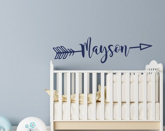 Personalized Arrow Name Wall Decal- Rustic Name Decal Nursery Decor- Arrow Wall Decal- Arrow Name Decal Personalized Nursery Kids Decor #89