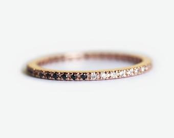 Rose Gold Eternity Band, Rose Gold Pave Diamond Ring, Rose Gold Eternity Ring, Half Black Half White Diamond Ring