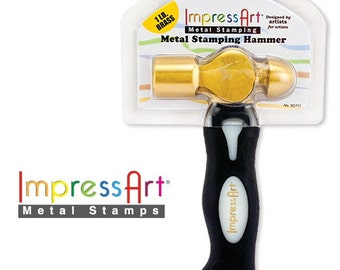 ImpressArt 1 Pound Metal Stamping Hammer Sc711 011499001072 FREE GIFT Solid Sterling Silver Disc ERGO Brass Head