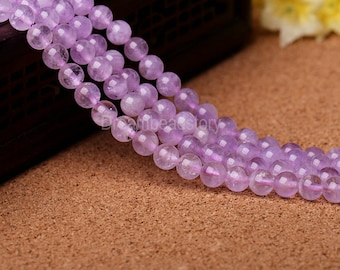 Lavender Amethyst Beads, 4 6 8 10 12 14 16mm Genuine Amethyst Crystal Beads for Girls' Jewelry, Craft Supply, Jewelry Beads Supplies (B167)