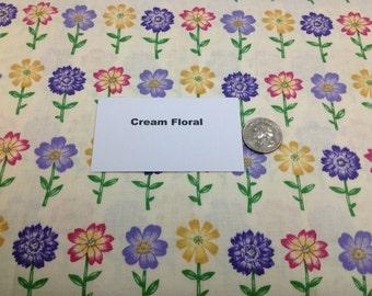 Cream Floral Fabric - 2 Yards