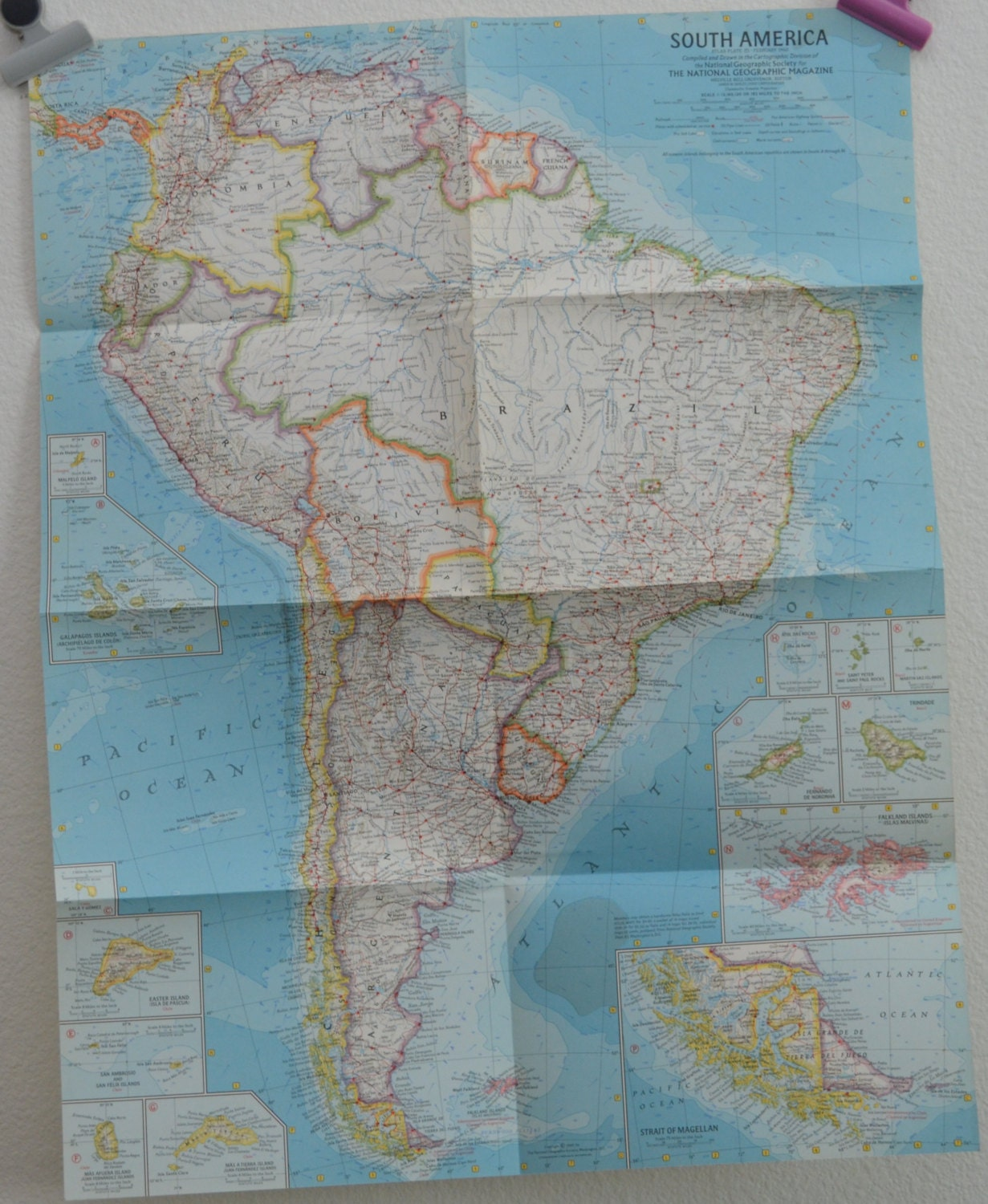 Vintage 1960 south america national geographic magazine map 195 x 595 gumiabroncs Gallery