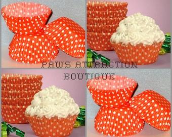 50 Orange & White Polka Dot Cupcake Liners Baking Cups STANDARD SIZE (Free Shipping!)