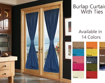 Custom Curtains, French Door Curtains With Ties, Burlap Curtains, Window Curtains, Burlap Drapes With Ties, Burlap Decor, Window Treatment